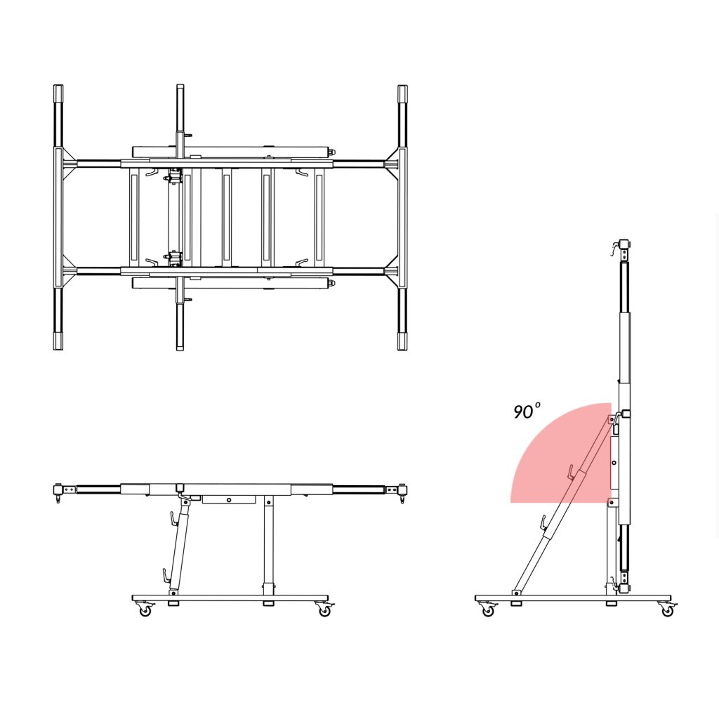 USTM_D90 – Uniwersalny stół monterski / wersja premium z rozsuwaną i podnoszoną ramą operacyjną w zakresie 0-90 stopni